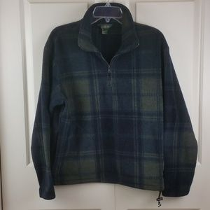 J.Crew Green Blue Plaid 1/4 Zip Pullover Jacket S